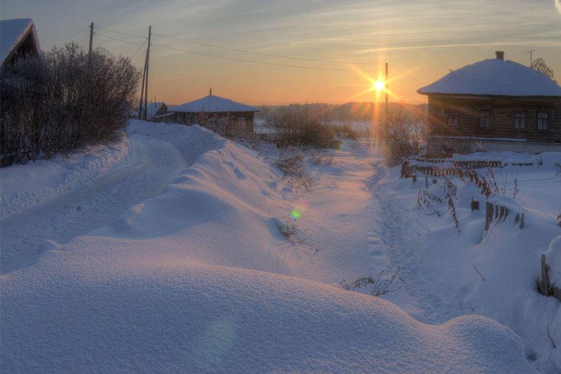 Сельский туризм, зима, деревня